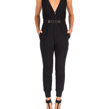 Low Cut Plated Jumpsuit