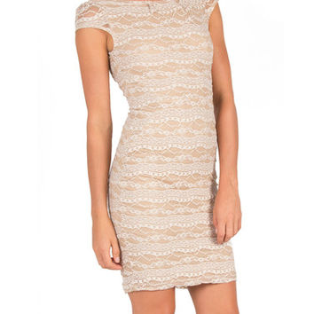 Lacey Backless Dress - Beige