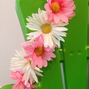 Pink and white daisy flower headband - EDC Flower Crown, Flower Headband, Floral Crown, Hippie Headband