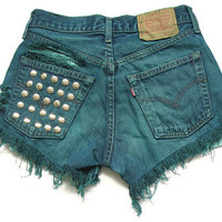 Studded and shredded high waisted shorts M by deathdiscolovesyou