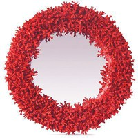 Giselle Faux Red Coral Branch Mirror Wall Mirror Round Shape