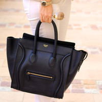 Celine Black 'Mini' Luggage Tote Bag (Medium) Handbag — Bib + Tuck
