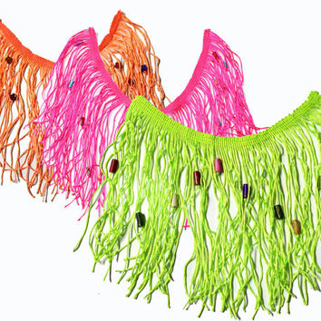 3 color Fringe Tassels Trim Ribbon with Beads for Fashion Crafts 1 yard