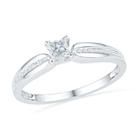 1/6 CT. T.W. Princess-Cut Diamond Promise Ring in 10K White Gold - View All Rings - Zales
