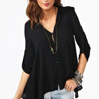 Draped Pocket Blouse - Black in  Clothes Back In Stock Tops at Nasty Gal