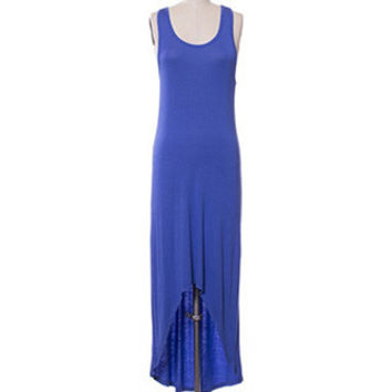 In Style Tank Racerback Hi/Lo Dazzling Blue Maxi Dress