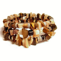 Coiled Bracelet with Coconut Shell, Seashell, Wood and Mother of Pearl