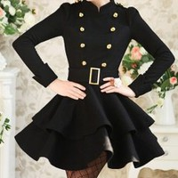 Hot sell black double golden buckle lady dress