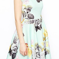 ASOS PETITE Mint Floral Bardot Skater Dress
