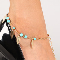 Beaded Leaf Charm Anklet