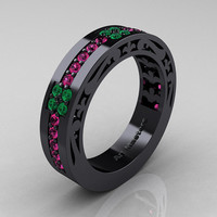 Womens Modern Vintage 14K Black Gold Pink Sapphire Emerald Wedding Band R474F-14KBGEMPS