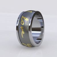 Your Handwritten Message in 14K Gold Inlay Cobalt by pmgart