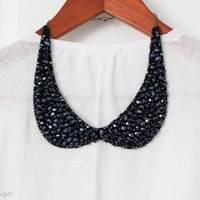 Midnight Crystal Collar Necklace by ilovevivid on Etsy
