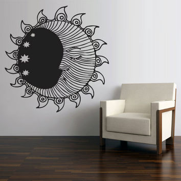 Wall Vinyl Sticker Decals Decor Art Bedroom Design Mural Sun Crescent Dual Ethnical Stars Symbol Moon (z2707)