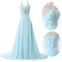 Womens Elegant Bridesmaid Evening Homecoming Formal Party Ball Gown Prom Dress