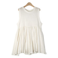 Shirred Gauze Sleeveless Dress