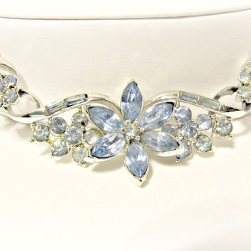 Vintage Blue Rhinestone Choker Necklace - Dainty, Detailed, Light Blue - Bridal Jewelry, Something Blue - Vintage Trifari