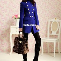 Blue double buckle long coat