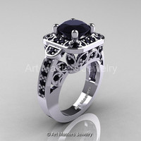 Art Masters Classic 14K White Gold 2.0 Ct Black Diamond Engagement Ring Wedding Ring R298-14KWGBD