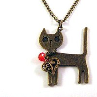 Bronzed Cat Necklace Jewelry With Heart Charm And Red Crystal | Luulla