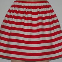 Red and White Stripe Skirt Custom Skirt