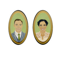 Custom Couple Portrait - Personalized Modern Heirloom on Wood in a Vintage Style 5x7 size