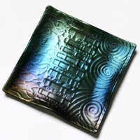 Art Glass Plate with Rainbow Iridescent Geometric Design, 7 Inch, OOAK