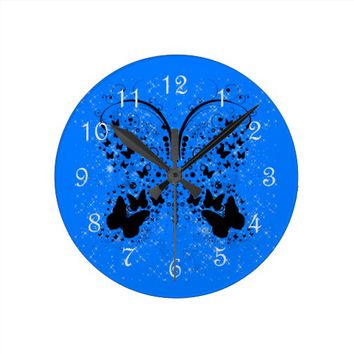Butterfly Sparkles BLUE Wall Clock