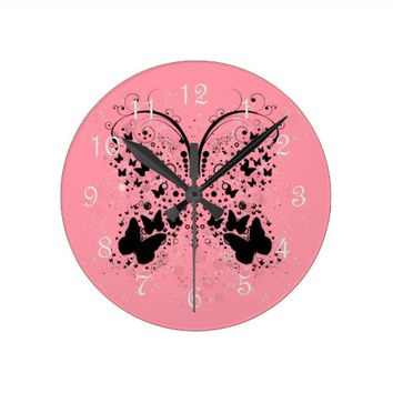 Butterfly Sparkles DUSTY ROSE Wall Clock