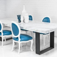 farmhouse italian carera marble dining table