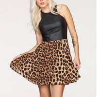 Black Leather Leopard Print Chiffon Dress