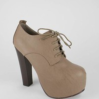 Lace-Up Platform Bootie in Taupe