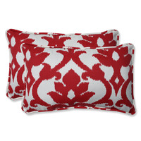 Pillow Perfect Outdoor Bosco Cherry Rectangular Throw Pillow (Set of 2)