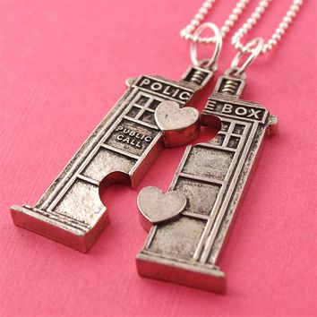 Doctor Who Tardis Friendship Necklaces - Spiffing Jewelry