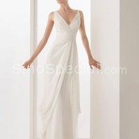 Charming White A-line V-neck Neckline Floor Length Sash/Ribbon Chiffon Wedding Dress-SinoSpecial.com