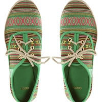 ASOS MIAMI Lace Up Shoes With Aztec Print at asos.com