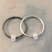 Opalescent Beaded Cartilage Hoop Earring Septum Tragus Nose Ring Upper Ear Piercing 20 Gauge