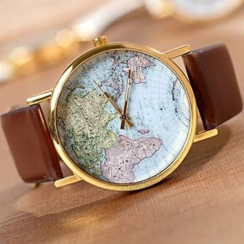 Buyinhouse Fashion Design World Map Fashion Antique Wristwatch Watch Brown Band