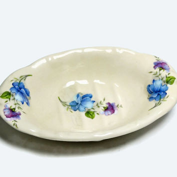 Ironstone Soap Dish for Shabby Cottage or Victorian Style Bathroom Decor