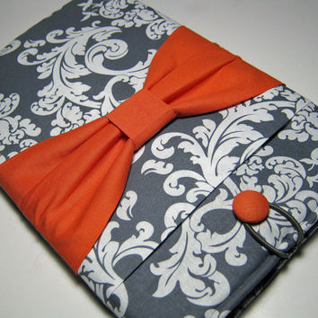 Macbook Air Sleeve, Macbook Air Cover, Macbook Air 13 inch Cover, Macbook Air 13 Inch Case, Laptop Sleeve, Gray Demask w/ a Coral Bow
