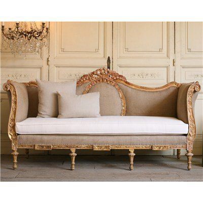 One of a Kind Vintage Daybed Ornate Warm Gold