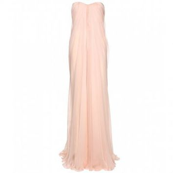 Floor Length Light Pink Chiffon Evening Dress