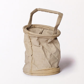 French Army Collapsing Linen Bucket