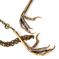 Bird Claw Lariat Necklace in Solid Bronze Bird Feet 056