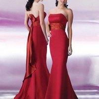 Elegant Satin Red Mermaid Style Hot Sell Bridesmaid Dress With Beautiful Pleats Sash