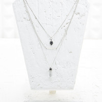 Multirow Crystal Necklace in Silver - Urban Outfitters