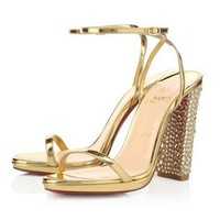 Christian Louboutin Au Palace Satin 120mm Sandals Gold - $131.00