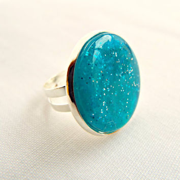 Blue Glitter Ring, Turquoise Ring, Adjustable Ring, Silver Cabochon Ring, Turquoise Glitter, Turquoise Cabochon, Silver Plated Ring