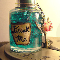 Teal Wonderland Drink  Painted Rose  Winged Key Vial by esanany