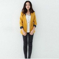 Korean Fashion Dots Fold Sleeve Fake Collar Jacket Mustard-Wholesale Women Fashion From Icanfashion.com